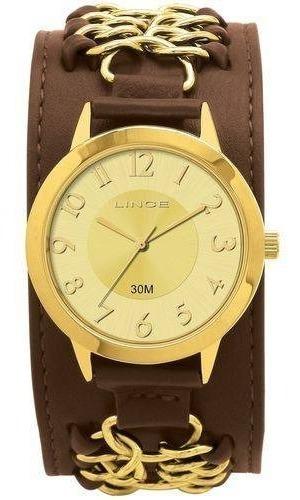 relógio lince feminino lr42061 - dourado c/ pulseira marrom