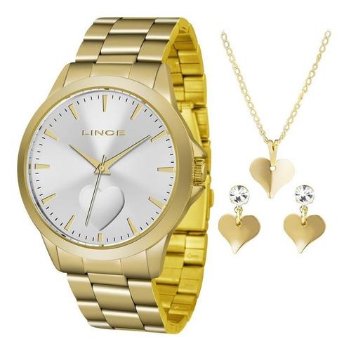 relógio lince feminino lrgj097l kw16s1kx dourado + semijóia