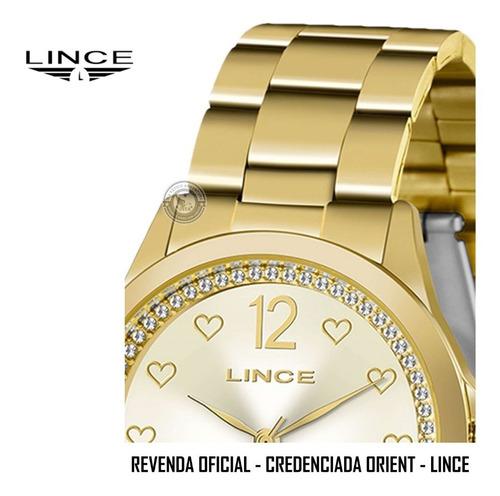 relógio lince feminino orient dourado colar brincos original