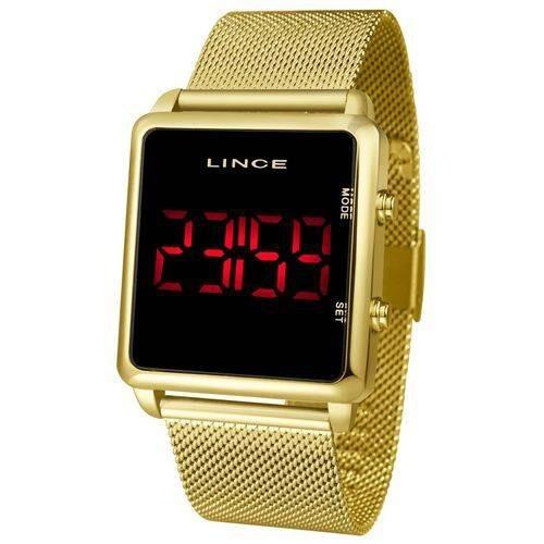 relógio lince led digital dourado unissex mdr4596l pxrx