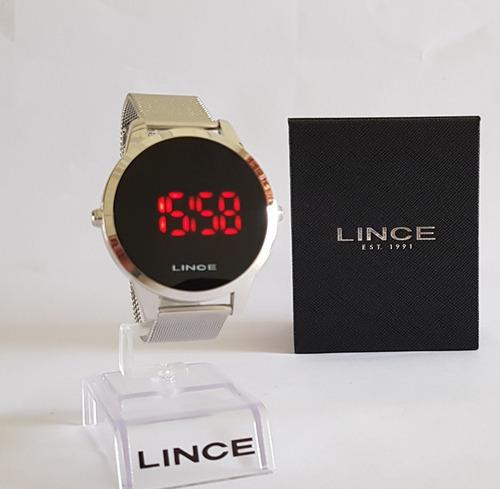 relogio lince led digital unissex prata mdm4586l