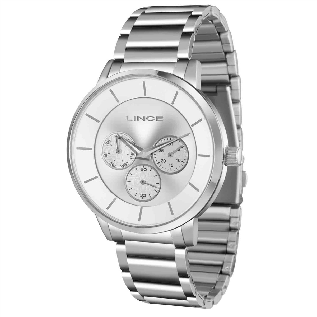 401f66c5442 relógio lince masculino aço calendário barato prata lmmj054l. Carregando  zoom.