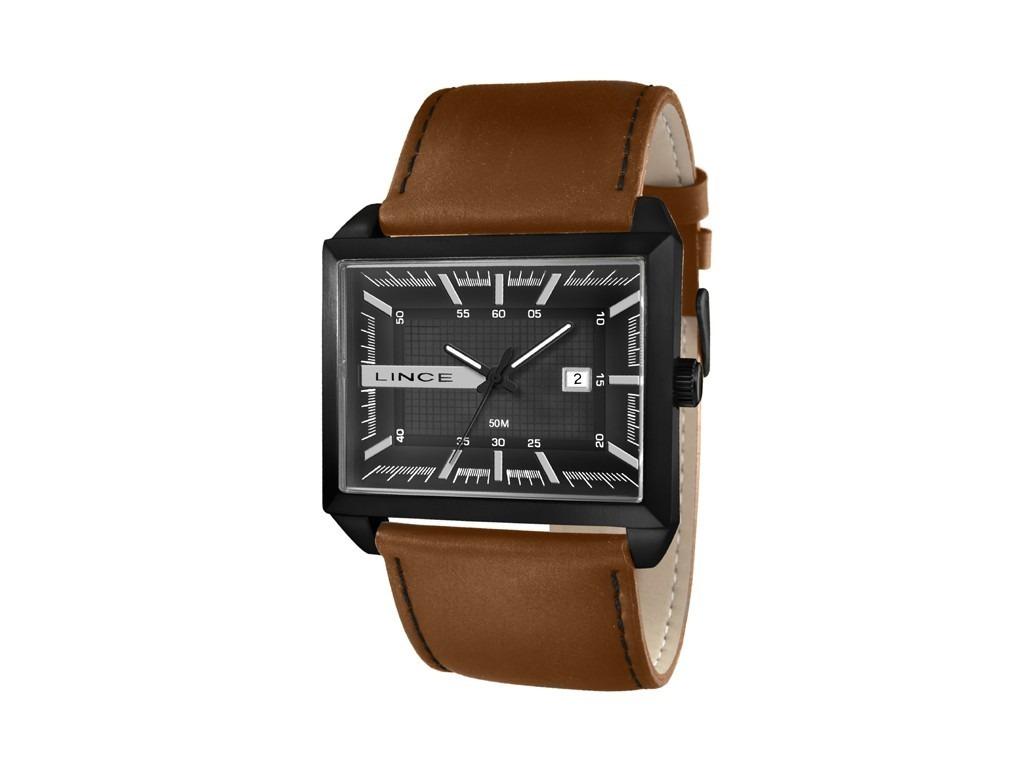 8b7288987bc relógio lince masculino preto pulseira de couro marrom. Carregando zoom.