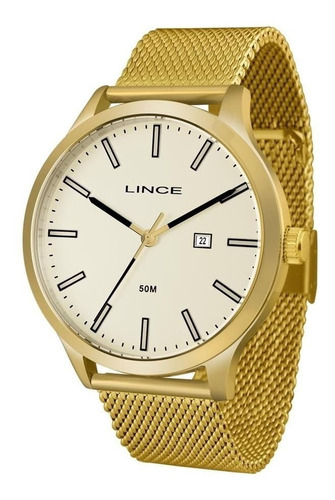 relógio lince masculino ref: mrg4494s c1kx mesh dourado