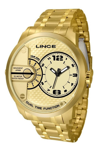 relógio lince masculino ref: mrgh049s c2kx big case dourado