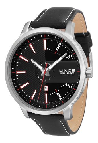 relógio lince mrch019s pvpx redondo couro preto - refinado