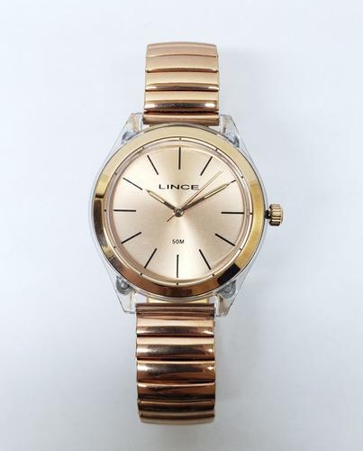 relógio lince ouro rose pulseira elastica fem frete gratis