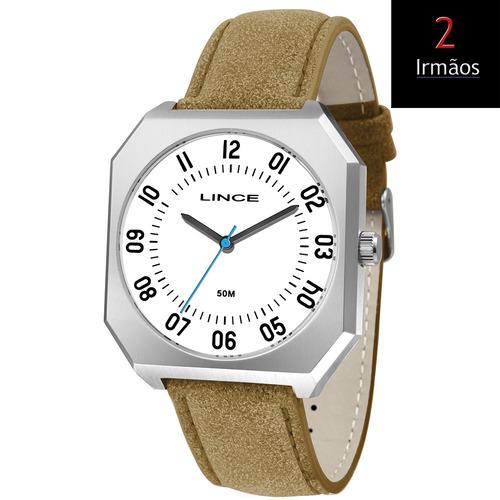 relógio lince quadrado de couro mqc4498s