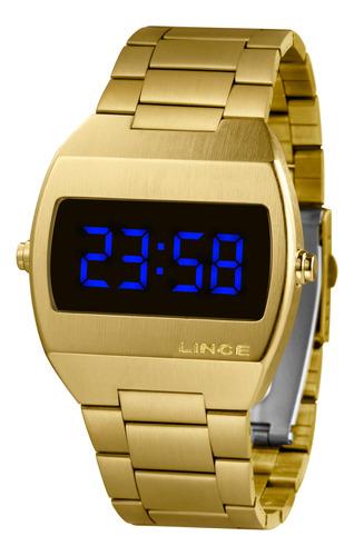 relógio lince unissex digital quadrado dourado mdg4621l dxkx