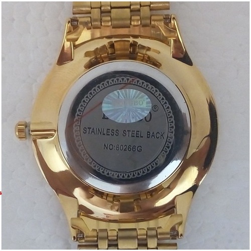 relógio longbo masculino original dourado folheado ouro vip