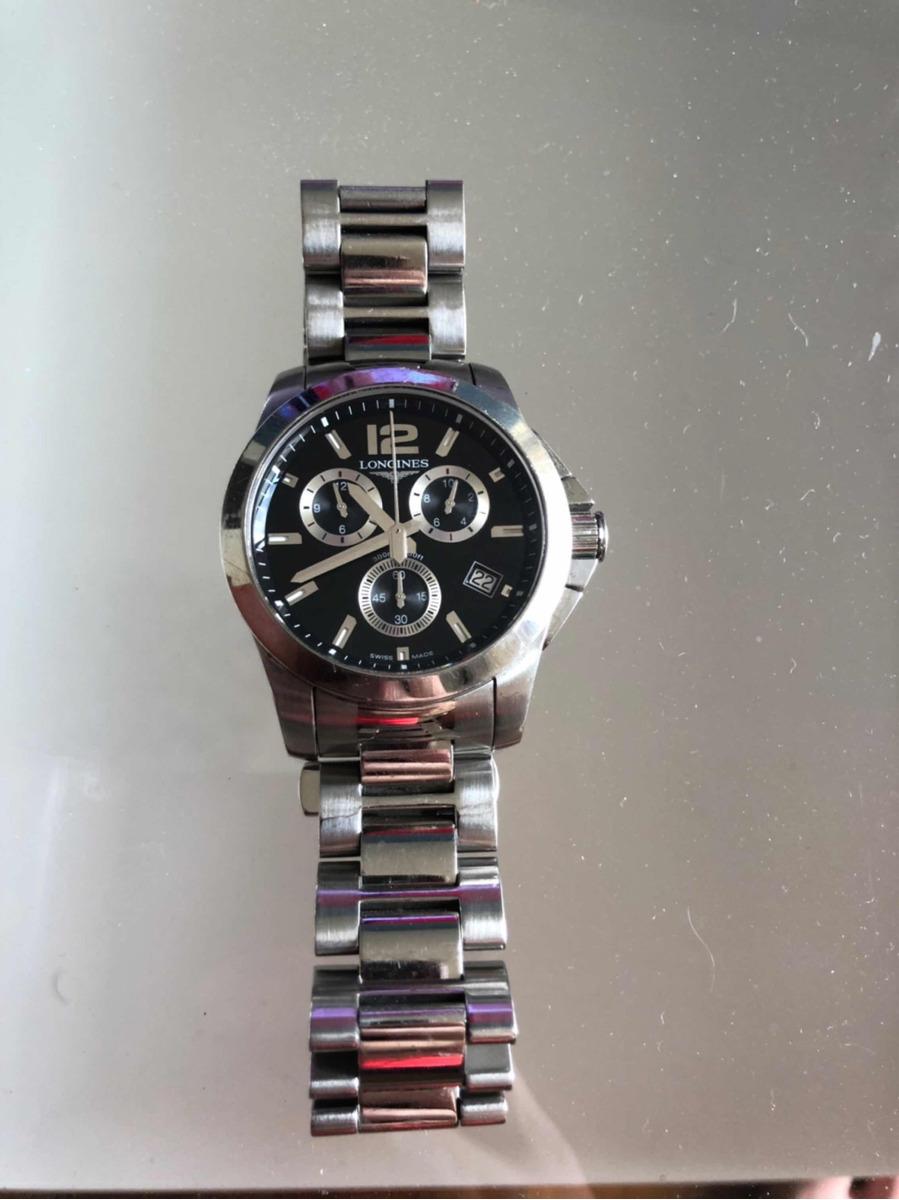 d861ff5349f relógio longines conquest chrono 42 preto - impecável. Carregando zoom.