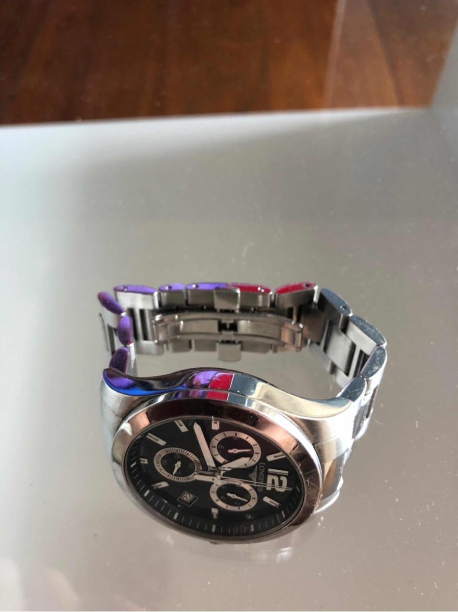 a927e6343b9 relógio longines conquest chrono preto quartz - impecável. Carregando zoom.