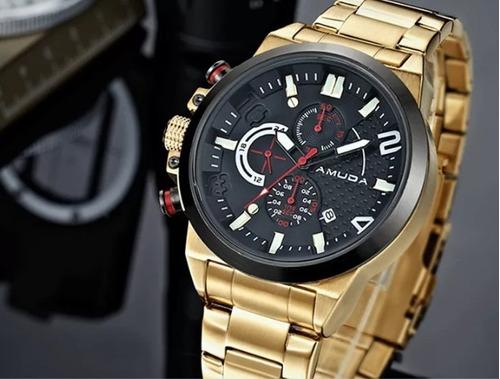 relógio luxo amuda dourado e prata quartz canhoto