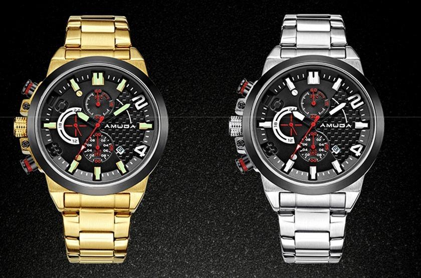 3552ae8be1d relógio luxo amuda dourado e prata quartz canhoto masculino. Carregando zoom .