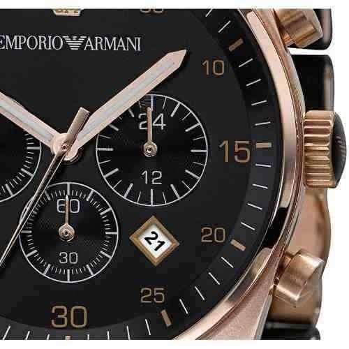 17562074efd Relógio Luxo Emporio Armani Ar5905 Preto Rose Original Sw10 - R  239 ...