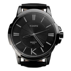 Relógio Luxo Korps 1319 Diamante Negro Pulseira Couro