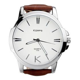 Relógio Luxo Korps 1319 Prata Fundo Branco Pulseira Couro