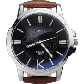 Relógio Luxo Korps 1319 Prata Fundo Preto Pulseira Couro