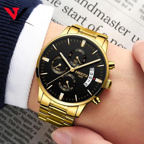 relógio luxo masculino 2309 nibosi pronta entrega original