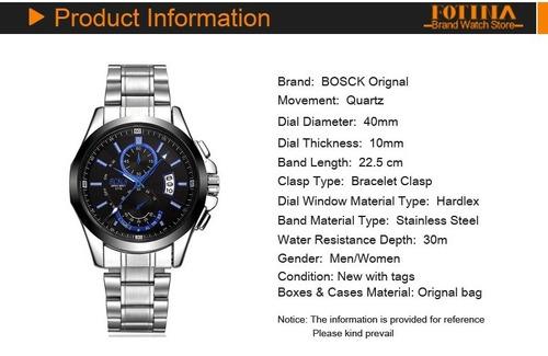 a7a45066f1d91 Relógio Luxo Masculino Bosck Em Aço Inoxidável Aprova D agua - R  79 ...