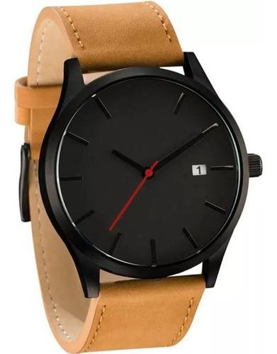 relógio luxo masculino pulso social pulseira de couro marrom