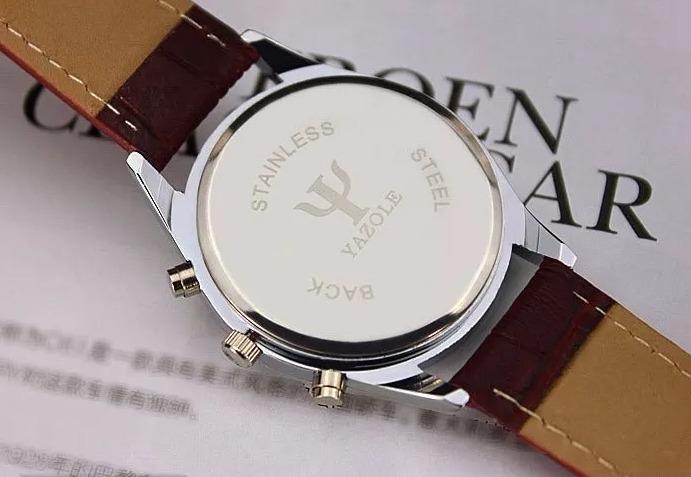 ddf242e5b97 Relógio Luxo Masculino Yazole Pulso Social Pulseira Couro - R  30
