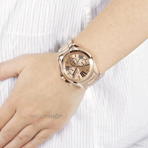 relógio luxo michael kors mk5503 orig chron anal gold rosé