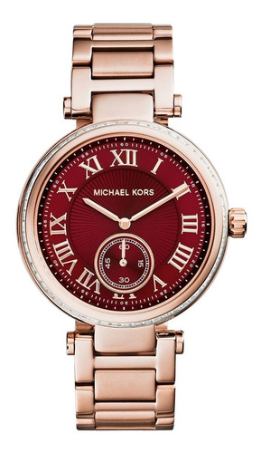 relógio luxo michael kors mk6086 orig chron anal red&swarovs