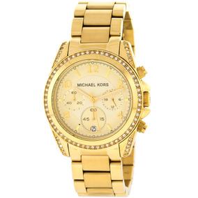 8b8c32b17 Relógio Luxo Mk5166 Blair Orig Chron Anal Gold Swarovski