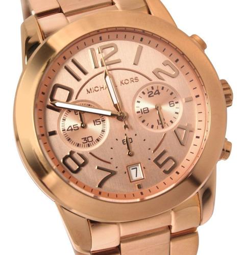 relógio luxo mk5727 orig chron anal gold rose!!!