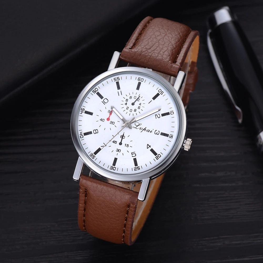 fe82599e219 Relógio Lvpai Branco Pulseira Marrom