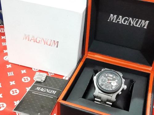 relogio magnum aco fosco completo caixa