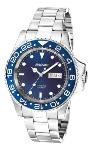 relógio magnum automático ma33844f aço inox