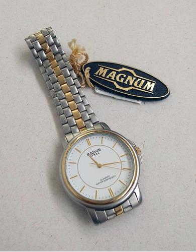 relógio magnum caixa e pulseira em aço mista