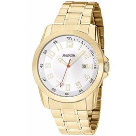Relógio Magnum Dourado Masculino - Wr 100m - Data Lindíssimo