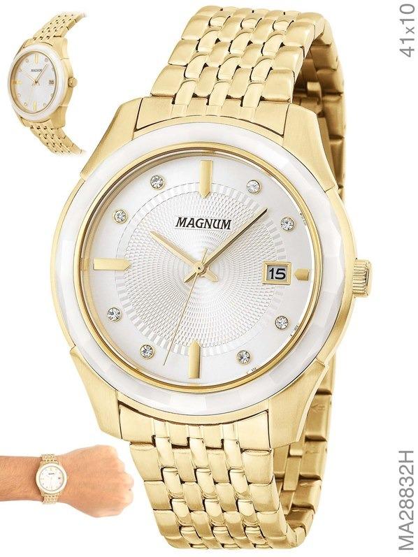 db26c5a7497 Relógio Magnum Feminino Dourado Fosco Ma28832h - R  343