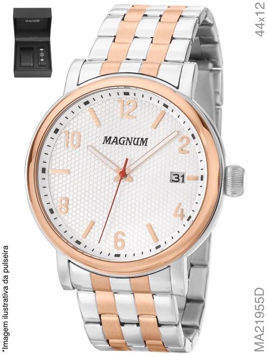 df2244ba020 Relógio Magnum Kit Masculino Prata Com Pulseira Ma21955d - R  413