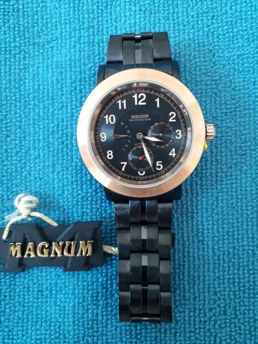 relogio magnum ma 31140p aço novo na caixa