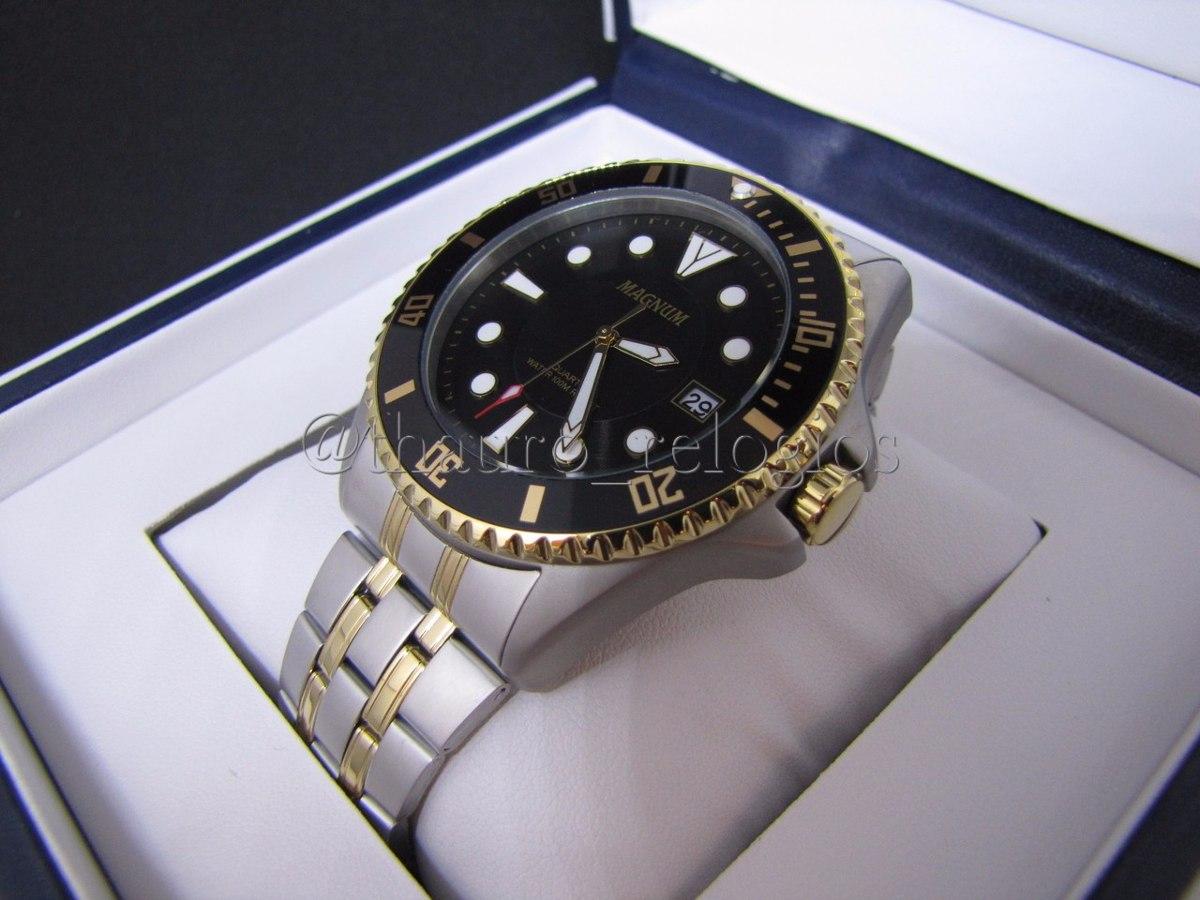 8734d33d075 relógio magnum masculino ma32872p prata preto dourado diver · relógio  magnum masculino. Carregando zoom.