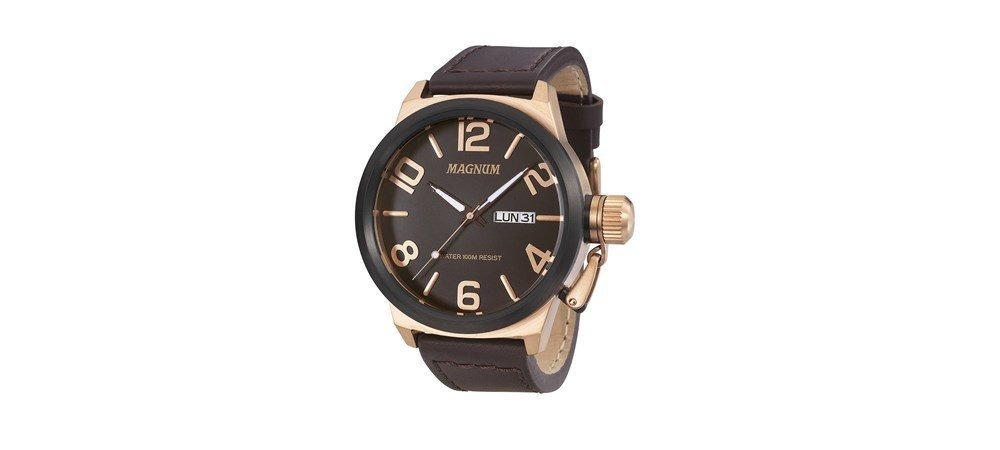 2ad3c03caac Relógio Magnum Analógico Cobre Masculino Couro Marom Ma33399 - R ...