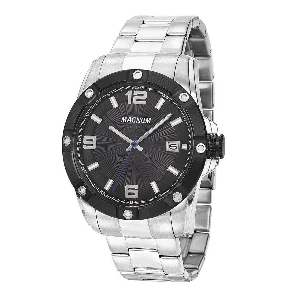 97b152ddac9 Relógio Magnum Masculino Analógico Aço Prata Preto Ma34709t - R  398 ...