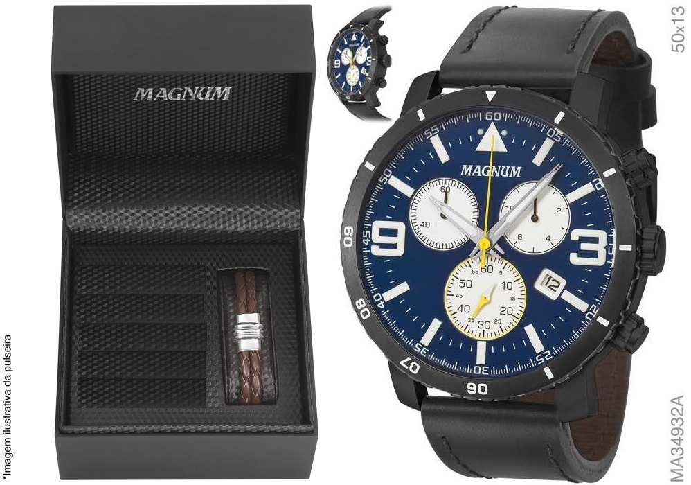 138e28fa2ee relógio magnum masculino cronógrafo ma34932a + brinde + nf. Carregando zoom.