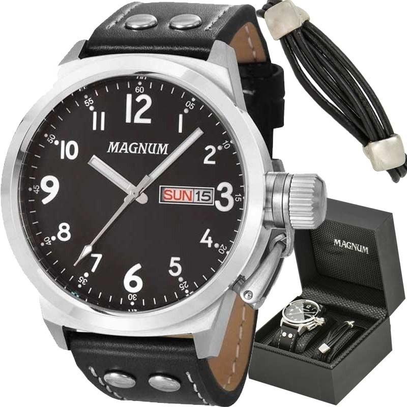 39cbaa7d306 relógio magnum masculino kit com pulseira ma32774c. Carregando zoom.