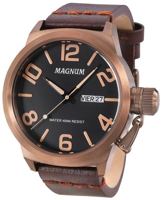 7a41dcac700 Relógio Magnum Masculino Ma33399r Chocolate Couro - R  359
