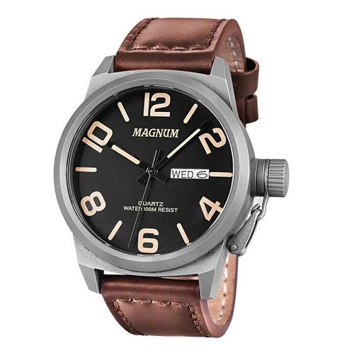 relógio magnum masculino ma33406c analógico couro