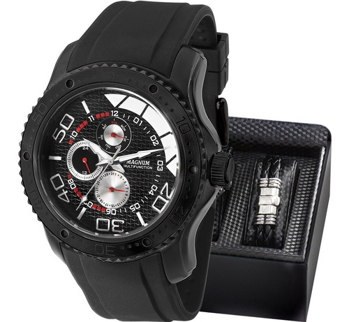relógio magnum masculino multifunction com pulseira ma31828c