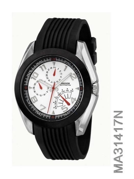 cb6b79dbf32 Relógio Magnum Masculino Preto Ma31417n Silicone - R  354