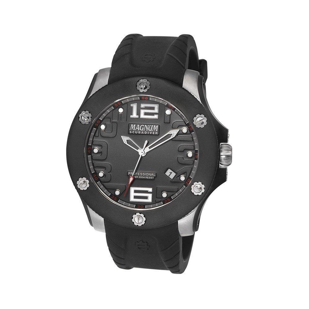 b4c97bf3396 relógio magnum masculino scuba borracha preto ma30865t. Carregando zoom.