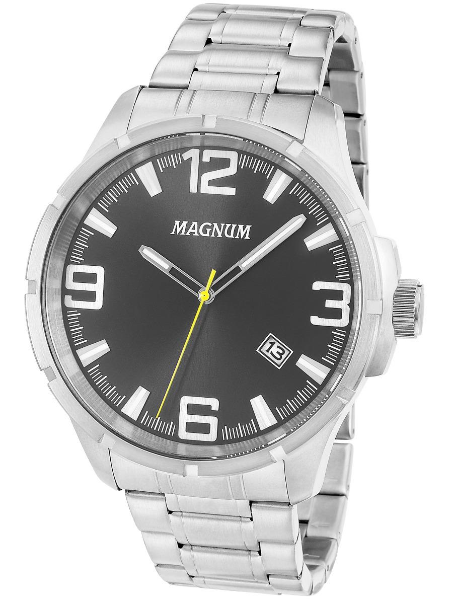 c4f03711642 relógio magnum sports ma34781t masculino prata fundo preto. Carregando zoom.