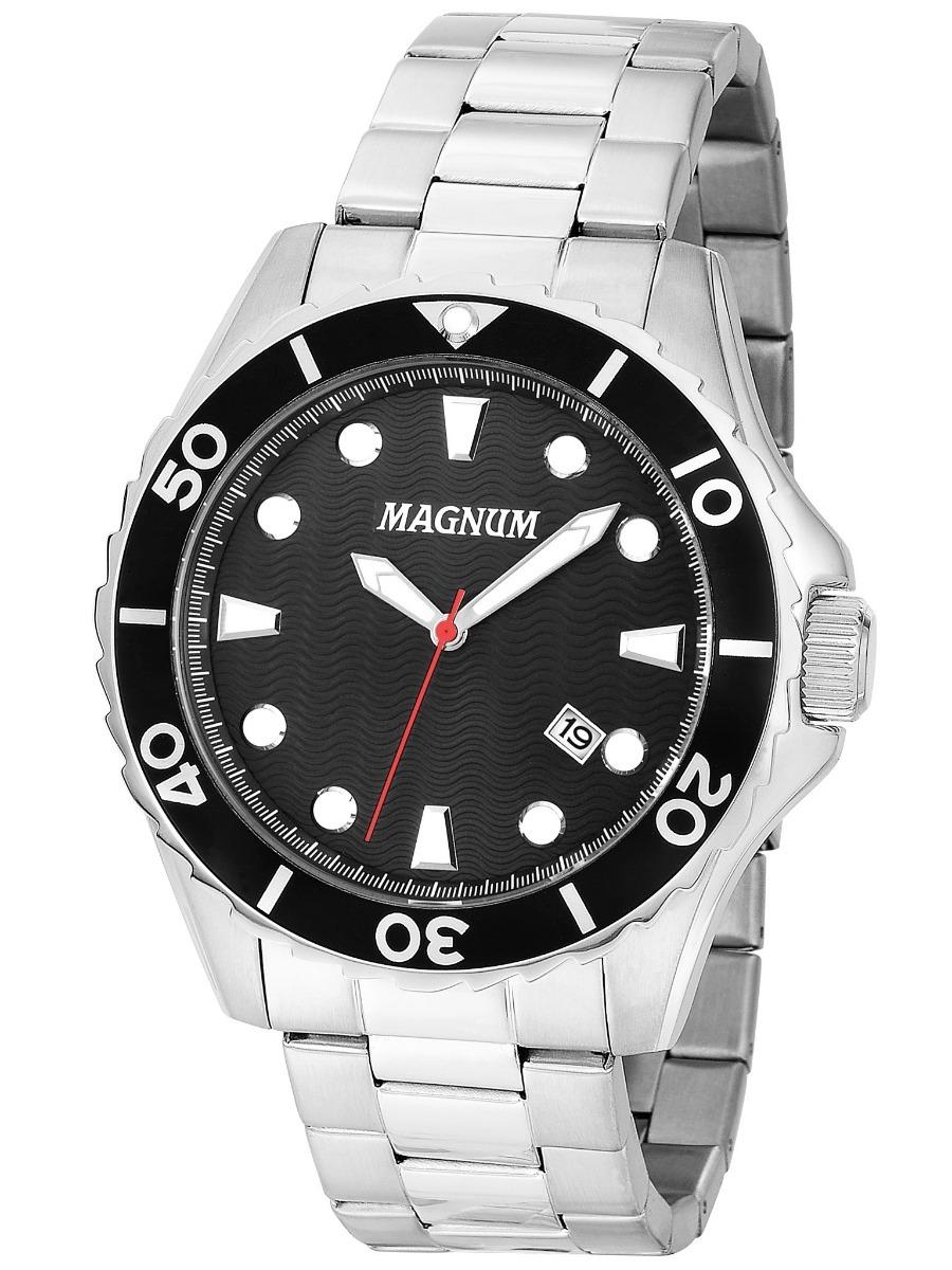 8e2ec81724d Relógio Magnum Sports Ma35011t Masculino Prata E Fundo Preto - R  248
